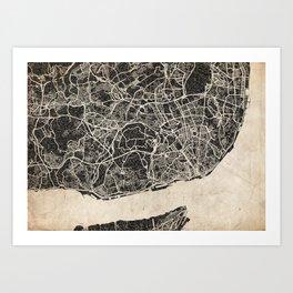 lisbon map ink lines Art Print