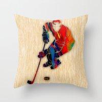 hockey Throw Pillows featuring Hockey by marvinblaine