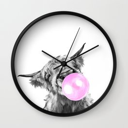Bubble Gum Highland Cow Black and White Wall Clock