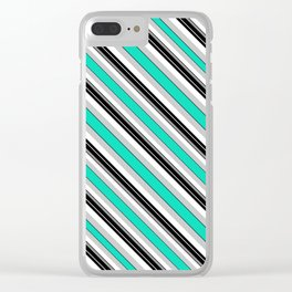 diagonal stripes turquoise and black Clear iPhone Case