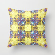 Abstract Yellow Purple Mandala Throw Pillow