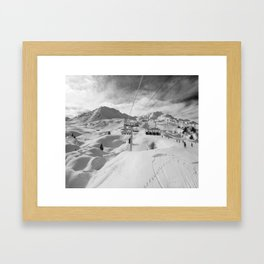 8 Seat Chair Lift B&W Framed Art Print