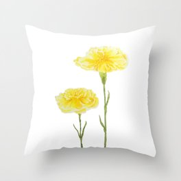 yellow carnation watercolor painting Throw Pillow