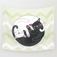 philosophy Wall Tapestries featuring Cat Philosophy by Emily Andrus Lopuch