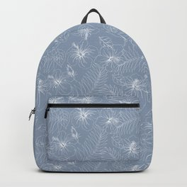 Seamless Exotic Hibiscus Tropical Palm Leaves Backpack
