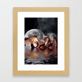 Mystical Dragon and Moon Fantasy Design Framed Art Print