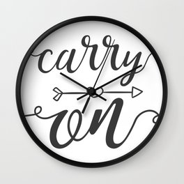 Carry On Calligraphy Arrowheart Wall Clock