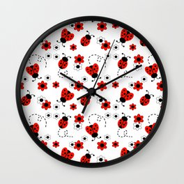 Red Ladybug Floral Pattern Wall Clock