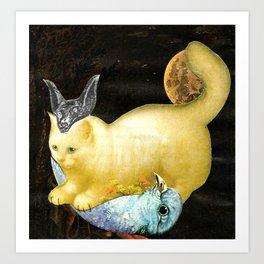 Diana greek goddess cat of the hunt handcut collage Art Print