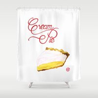 pie Shower Curtains featuring Cream pie by Nekojita