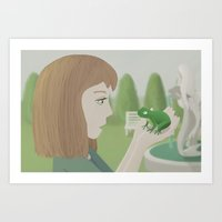 The girl and the frog Art Print
