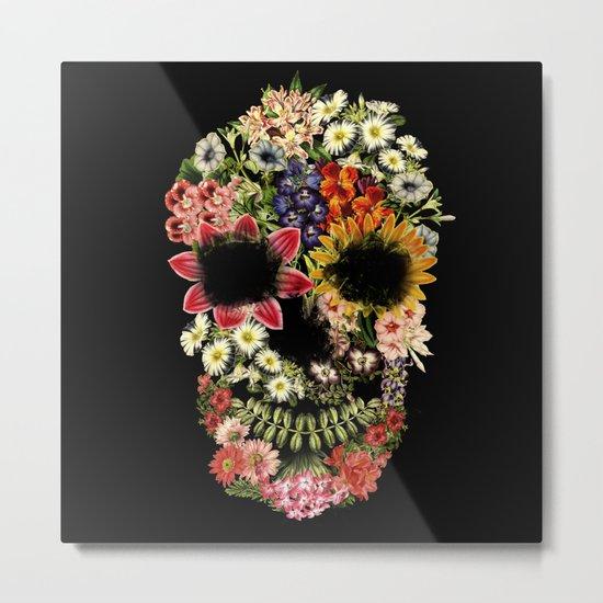 Floral Skull Vintage Black Metal Print
