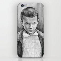 Stranger Things Eleven Watercolor Painting Black and White iPhone & iPod Skin