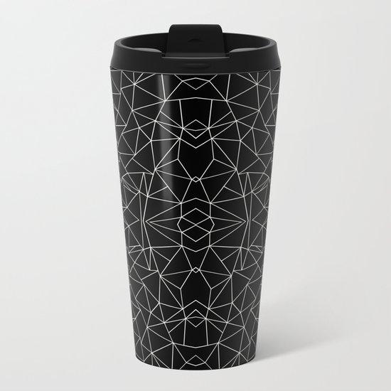 Abstract Collide Outline White on Black Metal Travel Mug
