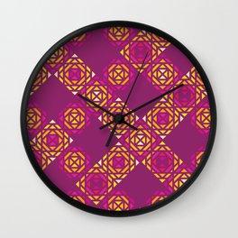 Fuchsia Squares Pattern Wall Clock
