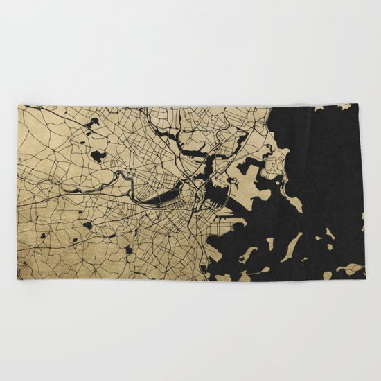 Boston Black and Gold Map Beach Towel