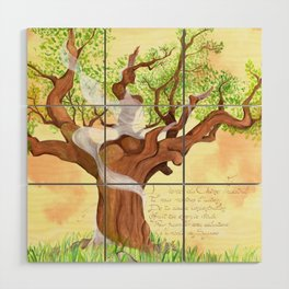 The concentrated Lady of the Oak Wood Wall Art