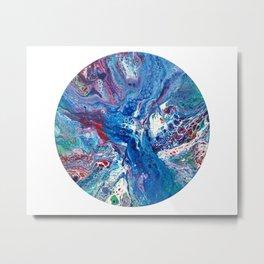 Fluid Art Blue Abstract Painting Metal Print