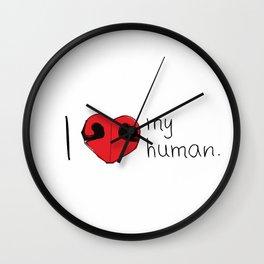 I Love My Human Wall Clock