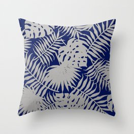 Silver Tropical Leaves over Navy Blue Throw Pillow