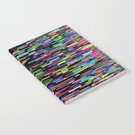 rainbow bars zooming across black space Notebook