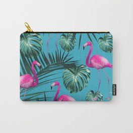 Tropical Flamingo Pattern #4 #tropical #decor #art #society6 Carry-All Pouch