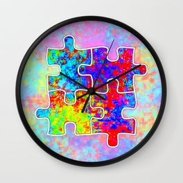 Autism Colorful Puzzle Pieces Wall Clock