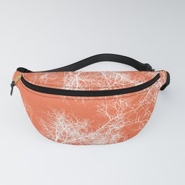 White silhouetted trees on orange Fanny Pack