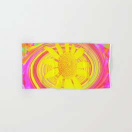 Yellow Sunflower on a Fuchsia Psychedelic Swirl Hand & Bath Towel