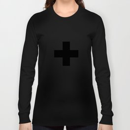 Swiss Cross white and black Swiss Design for minimalist home room wall art decor for apartment Long Sleeve T-shirt