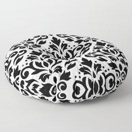 Scroll Damask Big Pattern Black on White Floor Pillow