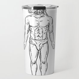 Alien Octopus Inside Head of Human Drawing Black and White Travel Mug