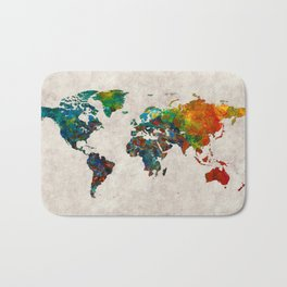 World Map 61 Bath Mat