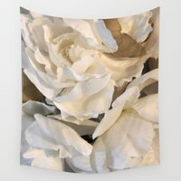 peonies Wall Tapestries featuring peonies by the rogue sparrow