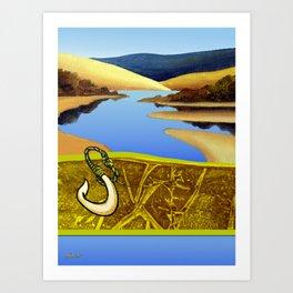 Water Meets Sand: Te Paki Stream Art Print