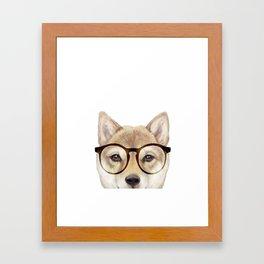 Shiba inu with glasses Dog illustration original painting print Framed Art Print