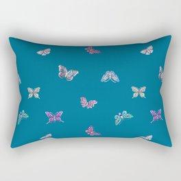 Christmas jeweled butterflies on teal, butterfly, jewels, precious, butterflies, new year, t Rectangular Pillow