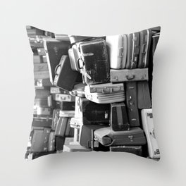 TOWER OF LUGGAGE in Black & White Throw Pillow