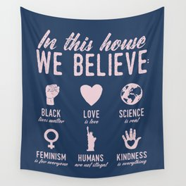 In This House We Believe, Navy & Pink Wall Tapestry