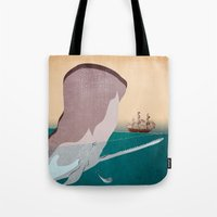 the whale Tote Bags featuring  WHALE by mark ashkenazi