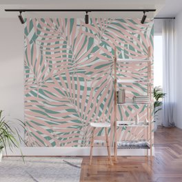 Tropical Green and Pink, Summer Palm Leaves Pattern Wall Mural