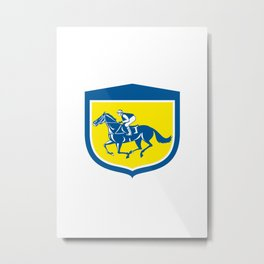 Jockey Horse Racing Side View Shield Retro Metal Print
