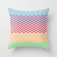 gumball Throw Pillows featuring Gumball Chevron by Wicked Cool Studio