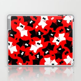 The pattern of butterflies. White and black butterfly on a red background. Laptop & iPad Skin