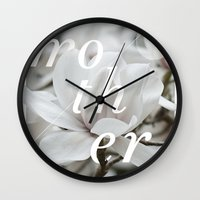 mother Wall Clocks featuring Mother by .eg.