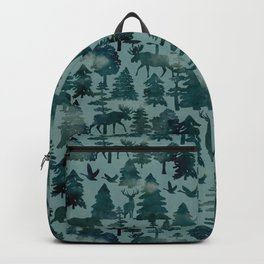 The Wild North, Wildlife, Blue Silhouette Forest and Animal Print Backpack