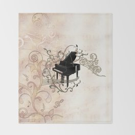 Music, piano with key notes and clef Throw Blanket