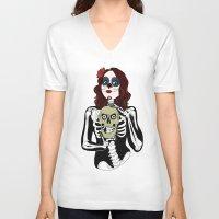 dia de los muertos V-neck T-shirts featuring Dia de los muertos by Paloma  Galzi