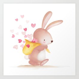Woodland Critters - Bunny with Sack of Hearts Art Print