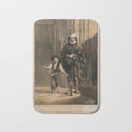A blind beggar stands with a boy beside a church, Cadiz, Spain. Coloured lithograph by A. Arrom afte Bath Mat
